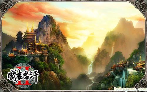 中国风楼阁手绘